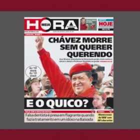 Capa de jornal com referências ao seriado Chaves