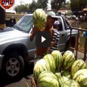 Descarregando melancias com habilidade